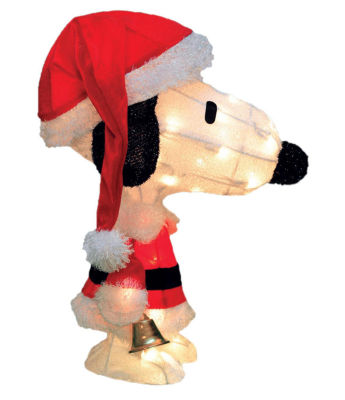 "18"" Pre-Lit Peanuts Soft Tinsel Santa Claus Snoopy Christmas Yard Art Decoration - Clear Lights"""