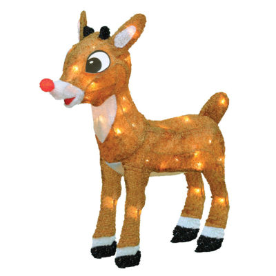"""18"""" Pre-Lit Rudolph the Red-Nosed Reindeer Christmas Yard Art Decoration - Clear Lights"""""""