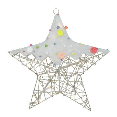 "19"" Lighted Champagne Gold Glittered Rattan Candy Covered Hanging Star Christmas Window Decoration"""