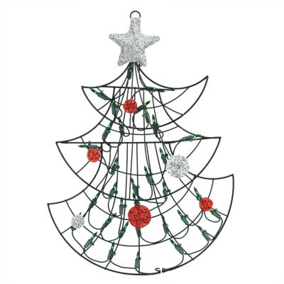 "19"" Lighted Christmas Tree with Silver Tinsel StarWindow or Wall Silhouette Decoration"""
