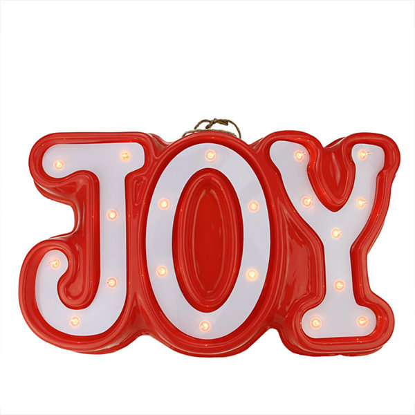 "19"" Lighted Red and White ""JOY"" Hanging Christmas Window or Wall Decoration"""