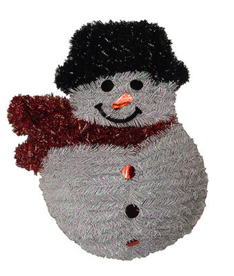 """19"""" Shiny and Iridescent Smiling Snowman Hanging Christmas Decoration"""""""