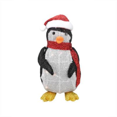 "19.5"" Lighted Tinsel Penguin with Santa Hat Christmas Yard Art Decoration"""