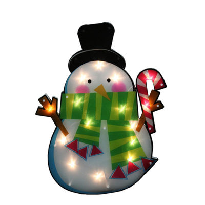 "23.75"" Lighted Shimmering Snowman with Candy Cane Christmas Window Silhouette Decoration"""