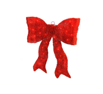 """24"""" Lighted Shimmering Red Whimsical Sisal Bow Christmas Yard Art Decoration"""""""