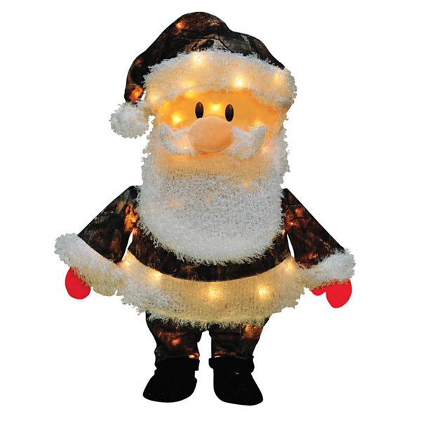 "24"" Pre-Lit Candy Lane Santa Claus in Camo Christmas Yard Art Decoration - Clear Lights"""