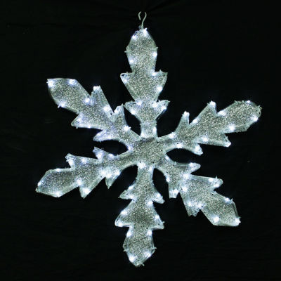 """24"""" Pure White LED Lighted Tube Light Silver Tinsel Fabric Snowflake Christmas Decoration"""""""