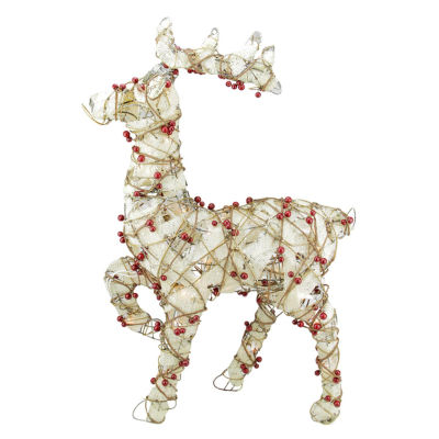 "28"" Lighted Standing Burlap and Berry Rattan Reindeer Christmas Yard Art Decoration"""