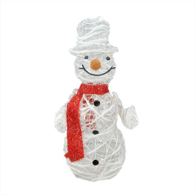 "28"" Lighted White Glittered Rattan Snowman Christmas Yard Art Decoration"""