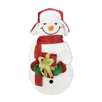 """28.5"""" Lighted White Plush Glittered Tinsel Snowman with Gift Christmas Yard Art Decoration"""""""