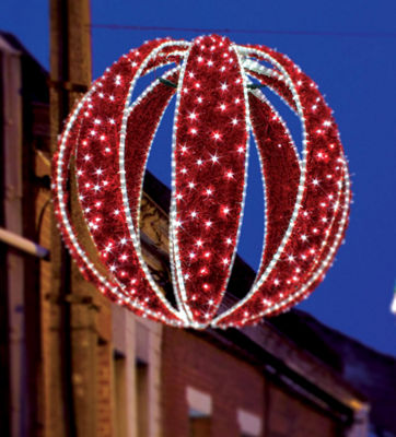 3.3' LED Lighted Red Zurich Sphere Commercial Christmas Display Decoration