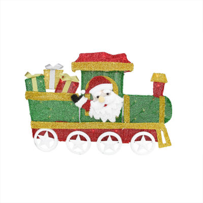 "30"" Lighted Tinsel Choo Choo Train Locomotive with Santa Claus Christmas Yard Art Decoration"""
