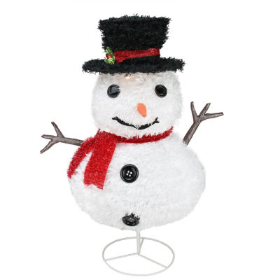 "30"" Pre-Lit Outdoor Chenille Snowman Kid w/ Top Hat Christmas Yard Art Decoration"""