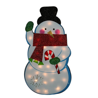 """30"""" Standing Tinsel Snowman Lighted Christmas Yard Art Decoration - Clear Lights"""""""