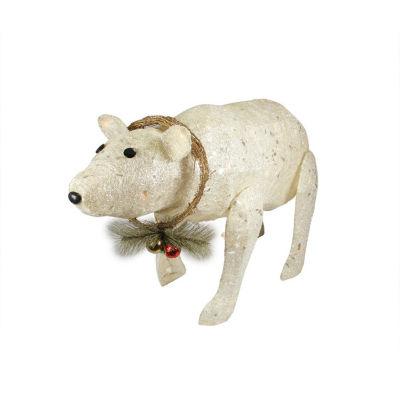 "31"" Lighted Sparkling Sisal Baby Polar Bear Christmas Yard Art Decoration"""
