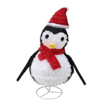 "32"" Pre-Lit  Outdoor Chenille Penguin w/ Santa Hat Christmas Yard Art Decoration"""
