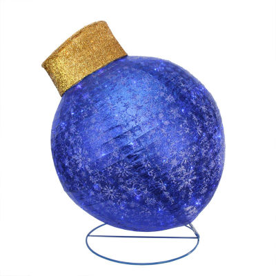 "36"" Pre-Lit Twinkling LED Blue Glitter Ball Ornament Christmas Yard Art Decoration"""