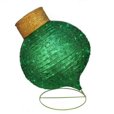 "36"" Pre-Lit Twinkling LED Green Glitter Onion Ornament Christmas Yard Art Decoration"""