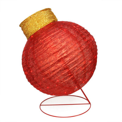 "36"" Pre-Lit Twinkling LED Red Glitter Ball Ornament Christmas Yard Art Decoration"""