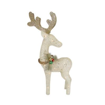 "37"" Lighted Sparkling Sisal White Reindeer Christmas Yard Art Decoration"""