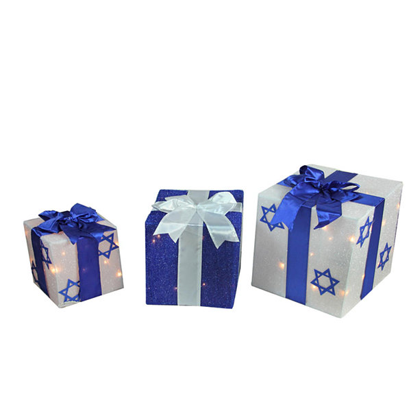 3-Piece Lighted White and Blue Hanukkah Gift Box Christmas Yard Art Decoration Set