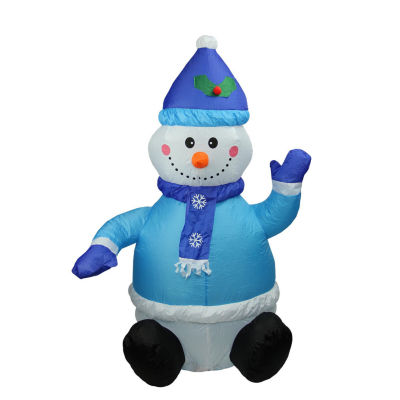4' Inflatable Lighted Blue Snowman Christmas Yard Art Decoration