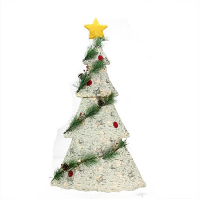 """42"""" Lighted 2-D Country Rustic Birch Christmas Tree Decoration - Clear Lights"""""""