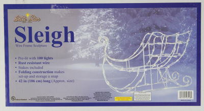 "42"" Lighted White Sleigh Christmas Yard Art - Clear Lights"""