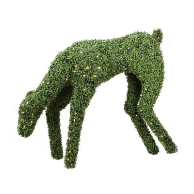 "42"" Pre-Lit Boxwood Feeding Reindeer Outdoor Christmas Decoration - Warm White LED Lights"""