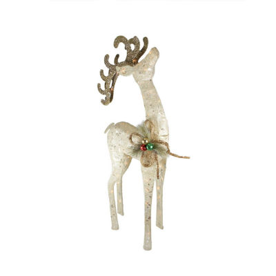 "46"" Lighted Sparkling Sisal White Reindeer Christmas Yard Art Decoration"""