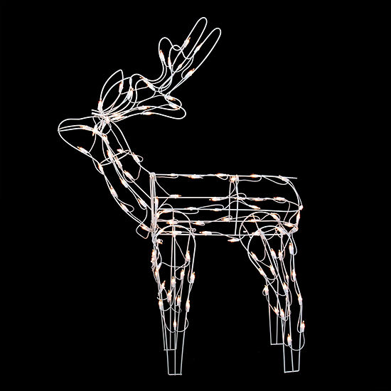 46 white standing reindeer lighted christmas yard art decoration - Lighted Deer Christmas Lawn Ornaments