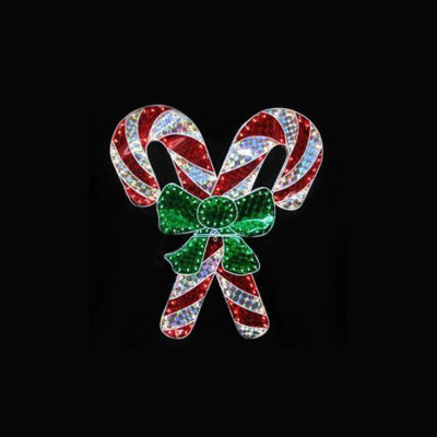 "48"" Holographic Lighted Double Candy Cane Christmas Yard Art Decoration"""