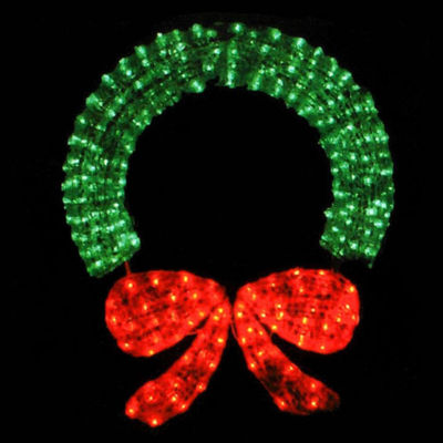 "48"" Lighted Crystal 3-D Outdoor Christmas Wreath Decoration"""