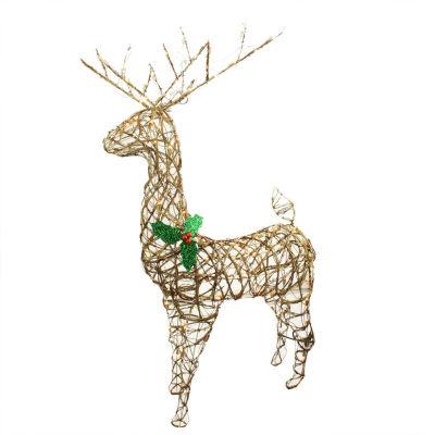 "57"" Standing Grapevine Reindeer Lighted Christmas Yard Art Decoration - Clear Lights"""