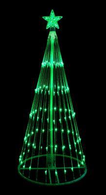 6' Green LED Light Show Cone Christmas Tree Lighted Yard Art Decoration