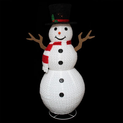 "72"" Pre-Lit Outdoor Chenille Swirl Large Snowman w/ Top Hat Christmas Yard Art Decoration"""