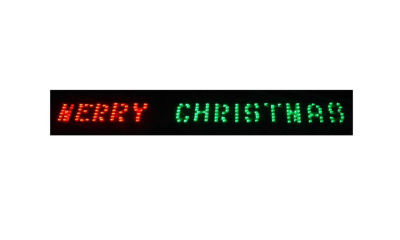 """80"""" x 6"""" Merry Christmas LED Lighted Holiday Banner - Red & Green Chasing Lights"""