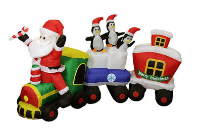 82 Inflatable Lighted Santa Express Train Christmas Yard Art Decoration""