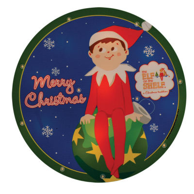 "9.5"" Pre-Lit Elf on the Shelf Round ""Merry Christmas"" Window Silhouette Decoration"""