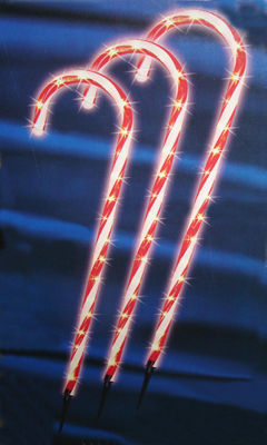 """Pack of 3 Lighted Candy Cane Pathway Markers Outdoor Christmas Decorations 28"""""""