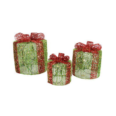 Set of 3 Lighted Green Round Glittered Present Christmas Yard Art Decorations