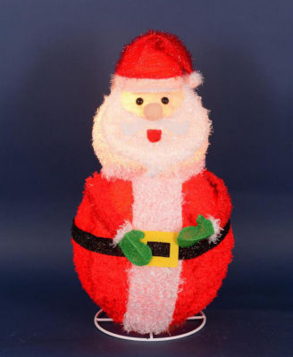 "24"" Lighted 3-D Chenille Jolly Santa Claus OutdoorChristmas Yard Art Decoration"""