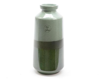 "10"" Botanic Beauty Two-Tone Green Colour Flow Earthenware Ceramic Vase"""