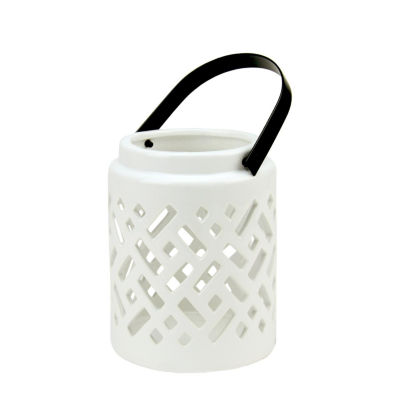 "10"" Seaside Treasures Decorative White Ceramic Cutwork Candle Holder Lantern"""