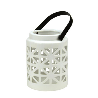 "10"" Seaside Treasures Decorative White Ceramic Cutwork Candle Holder Lantern"""