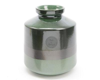 "6.75"" Botanic Beauty Two-Tone Green Colour Flow Earthenware Ceramic Vase"""
