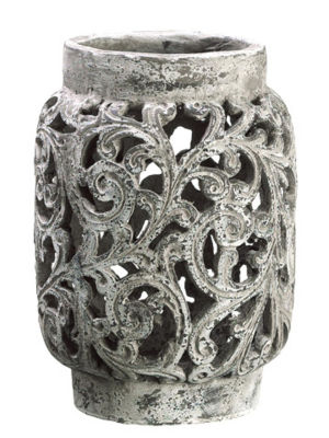 "13"" Antique-Style Distressed Paisley Hurricane Candle Holder"""