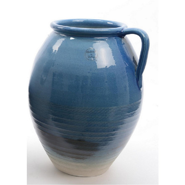 "14"" Seaside Treasures Hand Crafted True Blue Embossed Jug Style Vase"""