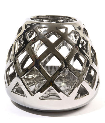 """7"""" Beach Day Shiny Silver Diamond Cut-Out Tea Light or Votive Candle Holder"""""""