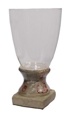 """12"""" Vintage Rose Antique-Style Olive Tan Floral Hurricane Vase Candle Holder"""""""